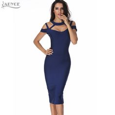 2016 New winter Dress Women Party Bandage dress blue Hollow Out V-Neck Sexy  Spaghetti Strap Celebrity club bodycon Midi Dress e328eee2641e