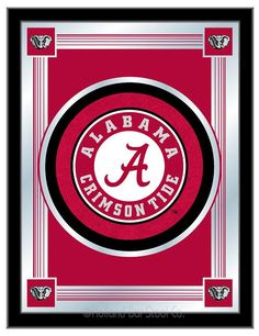 """Our University of Alabama NCAA Logo Mirrors display your school's logo with a style that fits any room decor. The Crimson Tide colors burst through the 1/8"""" thick glass and are highlighted by the mirrored accents with the simple but elegant design."""