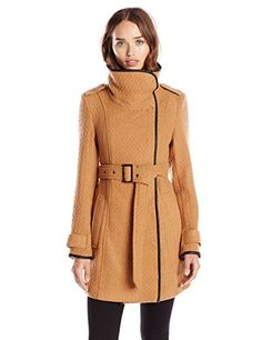New Trending Outerwear: Steve Madden Womens Belted Wrap Coat with Fold Collar, Camel, Large. Steve Madden Women's Belted Wrap Coat with Fold Collar, Camel, Large   Special Offer: $65.99      100 Reviews Belted walker coatFunnel-neck coat with faux leather piping featuring self-tie belt and slanted hand pockets at frontHidden black metal snapsCenter vent at back hem