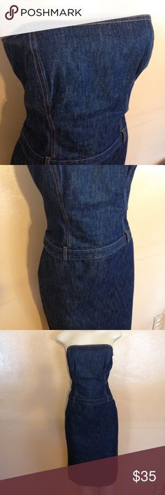 "J. Crew Denim Dress Fabulous denim dress strapless with side zipper.  Dark wash denim.  Measures 17"" bust, 16"" waist, 19 1/2"" hips,  37"" length. In excellent condition. Has belt loops but no belt.  Does not stretch. Bundle and save, no holds, no trades.  Please use offer to negotiate. J. Crew Dresses Strapless"