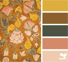 autumn floral~ If the deep ocre color were more of a barn red, this would be about perfect for a French Country color scheme.