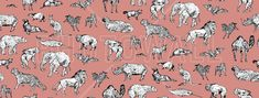 Lots of Animals Pink - Wall Mural & Photo Wallpaper - Photowall