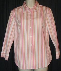 $15.99 J Crew Pink Green White Striped Button Front Career Shirt Top M