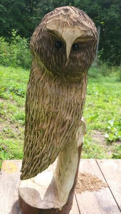 Chainsaw carved owl