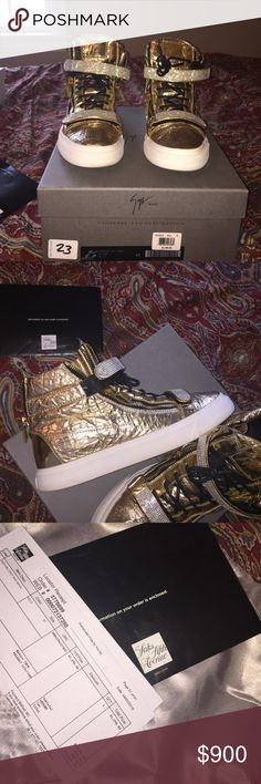Mens Giuseppe zanotti sneaker size 12 us 45 eu Only released exclusively at salary fifth avenue !! 8/10 condition worn twice. No scuffs or anything of the such very great condition. Size 12 us 45 euro. Original price is shown with saks receipt $1,410.34. All offers are welcome. I will not entertain low ball offers serious inquiries only thanks. Giuseppe Zanotti Shoes Sneakers