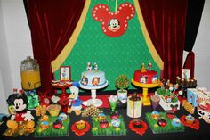 Check out this dessert table at a Mickey Mouse birthday party! See more party ideas at CatchMyParty.com!