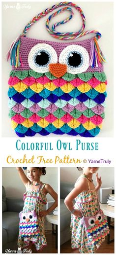 Colorful Owl Purse Crochet Free Patterns - Kids Shoulder #Bags; Free #Crochet; Patterns Crochet Owl Purse, Owl Crochet Pattern Free, Crochet Owls, Bag Pattern Free, Crochet Purses, Crochet For Kids, Free Crochet, Easy Crochet, Crochet Flowers