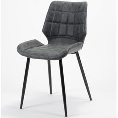 Spisebords stol - sort læderlook og sorte metalben Single Chair, Furniture, Chairs, Home Decor, Tire Chairs, Stool, Side Chairs, Interior Design