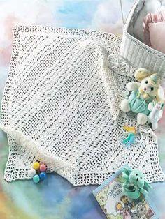 Crochet Afghans - Crochet Baby Blanket Patterns - Diagonal Lace Afghan