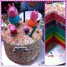 Peppa Pig Rainbow Layer Cake 1 packet mix divided into 2, 3 times to make 6 layers of colour. Used Duncan Hinze vanilla icing in between & outside. Covered in 100's & 1000's. Top with Peppa Pig toy figurines. Super easy!!