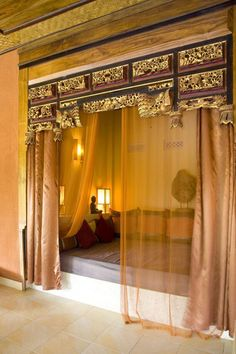 Old Chinese Indonesian Bed Panel beautiful colors. Home Design Decor, Dream Home Design, My Dream Home, House Design, Interior Design, Home Decor, Moroccan Bedroom, Moroccan Interiors, Dream Rooms