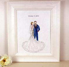 Order a personalized wedding portrait for your favorite bride and groom to adore and cherish - the perfect custom wedding gift! Made to order
