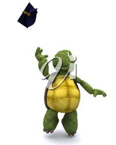 iCLIPART - 3d clip art illustration of a tortoise celebrating graduation
