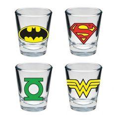Set com 4 Copos Shot - Heróis DC Comics - Batman, Superman, Lanterna Verde e Mulher-Maravilha