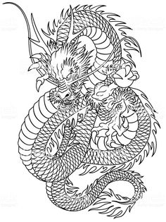I described it in traditional Japanese technique, Dragon Tattoo Stencil, Dragon Tattoo Drawing, Dragon Tattoo Back Piece, Dragon Sleeve Tattoos, Dragon Tattoo Designs, Tattoo Stencils, Dragon Tattoo On Thigh, Traditional Tattoo Dragon, Traditional Japanese Dragon