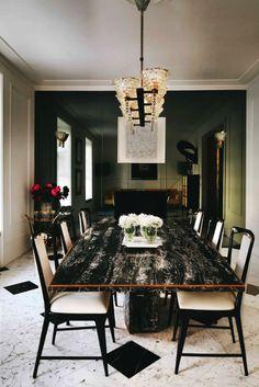 1970′s brass trimmed black & gold portoro marble table | 1940′s italian chandelier