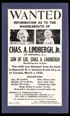 March 11, 1932 Wanted Poster for Charles Lindbergh, Jr. Kidnapping Information