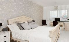 Applying Various Mixture Interior Styles for Your Apartment : White Bedroom Interior With Gray Pillow
