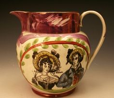 sunderland lustre | Pink Lustre pitcher from Sunderland Pottery with image of Susan and ...