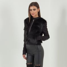 Fur Panel Suede Jacket - Black