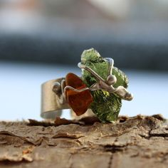 Forest Sun  Dual Stone Soldered Metal Ring with by AtelierQ