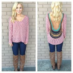 Burgundy Knit Low Back Embroidered Top on Wanelo
