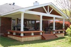 Exterior: Classic Pergola With Roof And Concrete Patios With Garden Landscape Also Water Feature And Patio Cover Ideas With Outdoor Furniture Plus Patio Trellis from Wood Trellis Ideas
