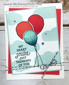 Video showing masking technique with Stampin' Up!'s Balloon Celebration Suite Sayings from www.mystamplady.com