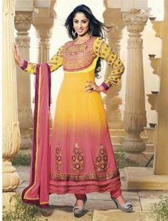 Pink and Yellow Designer Georgette Anarkali with heavy work of Embroidery en-crafted on the top and the Bottom. Along with Matching Shantoon Bottom and Chiffon Duppatta.