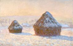 Global Gallery 'Wheatstacks, Snow Effect, Morning (Meules, Effet de Neige, Le Matin)' by Claude Monet Painting Print on Wrapped Canvas Stretched Canvas Prints, Framed Art Prints, Painting Prints, Artist Painting, Monet Paintings, Landscape Paintings, Claude Monet Pinturas, Monet Poster, Oil On Canvas