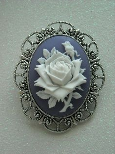 White Rose Antique Silver Brooch by OctoberPetals on Etsy