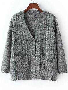 V Neck Slit Buttons Pockets Dolman Grey Coat