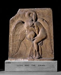 Marble relief of Leda and the Swan, grasping back of her neck with beak. Roman Period Argos 50-100 AD Source: British Museum