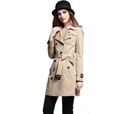 Saprex Double Breast Women Windbreak Waterproof Trench Coats B Khaki Size S  -One Stop Apparel For Women * Continue to the product at the image link.