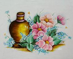 Coisas da Nil - Pintura em tecido: Vaso e campanulas.