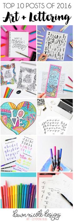 Top 10 Art + Lettering Posts of 2016 from the DawnNicoleDesigns.com blog!