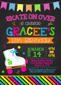 CHALKBOARD ROLLER SKATING 5x7 Birthday Party by PartySoPerfect