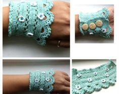 Crochet Cuff with beaded details
