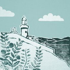 'Breathes for the Morning' Original handmade print of Youghal lighthouse in Co. Cork, Ireland