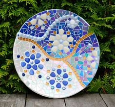 Mosaic in blue and white