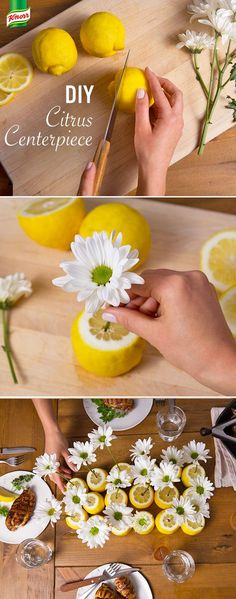 Want a show-stopping yet simple party table decorating idea? Knorr knows the best summer season centerpiece. Place your favorite flower into an orange, lemon, or lime. Create a fragrant bouquet with an assortment of floral items and different citrus fruit. What an easy DIY!: