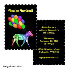 This fun invitation features a profile of a zebra wearing a rainbow of colors pulling along a bunch of colorful balloons with the strings in his mouth as if he's on his way to a party. The text on the front and back can be customized as you wish. https://www.zazzle.com/colorful_rainbow_zebra_party_invitation-256334366300503098?rf=238083504576446517&tc=20170515_pint_NI #stationery #customized #StudioDalio Zazzle