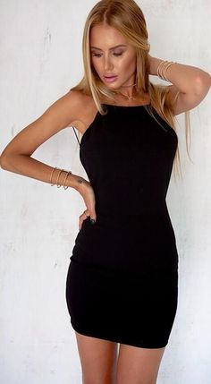 Sexy Pure Color Backless Short Bodycon Little Black Dress