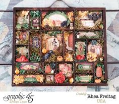 Come visit the blog to see great close-up detail on this beautiful An Eerie Tale shadowbox by Rhea using beautiful Petaloo blooms #graphic45 #petaloo