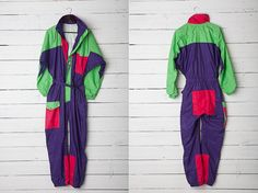 1990s A Bright Colorful Skirwear Onepiece Snow by CoverVintage, $49.00