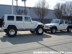 jeep unlimited | Lifted Jeep Wrangler JK Unlimited White Hard top vs Stock JK Unlimited ...