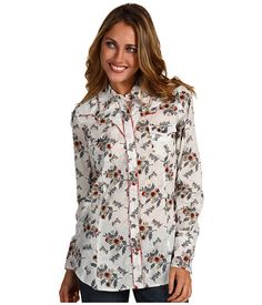Roper Country Girl Long and Lean Floral Print Shirt