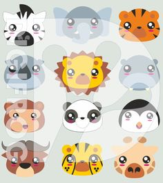 Printable wild animal faces, cute wild animals, kawaii cliparts, paper clip, bookmark, planner clipart, digital image, animal faces by DigiFrog on Etsy