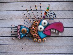 mosaic walls with found objects   Twisted Fish 113 - Found Object Wall Art by Fig Jam Studio