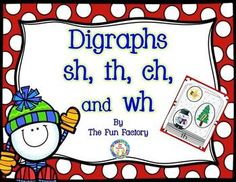 Winter #Digraphs ~ sh, th, ch, wh.  Many activities/games by The Fun Factory